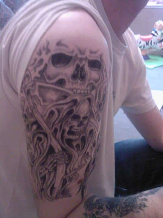 grey-ink-grim-reaper-tattoo-on-right-half-sleeve-for-men