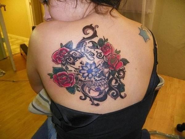 Hd Flower Sugar Skull Tattoo
