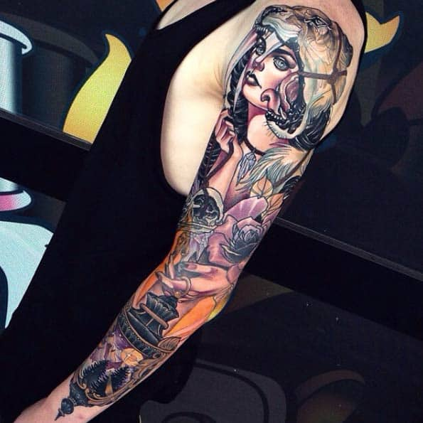 Colorful Neo Traditional Sleeve Tattoo by Nederland