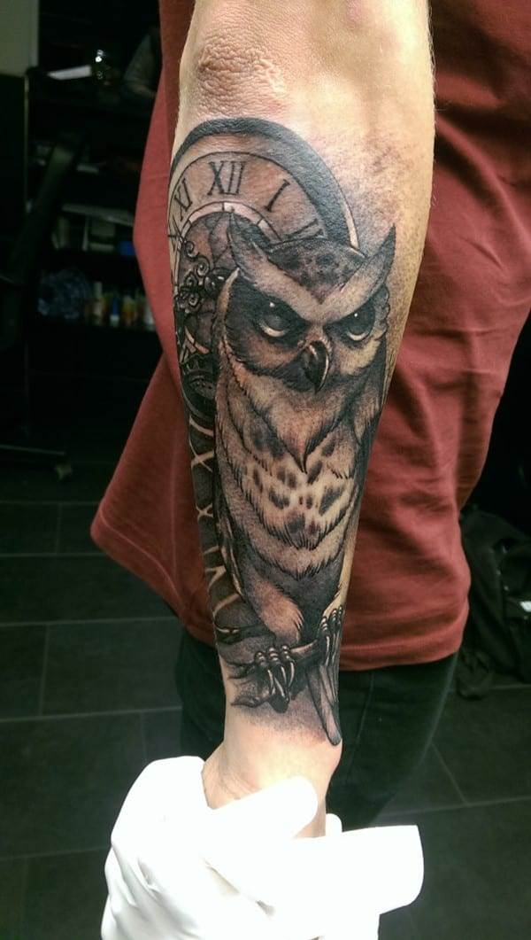 owl sleeve tattoo idea