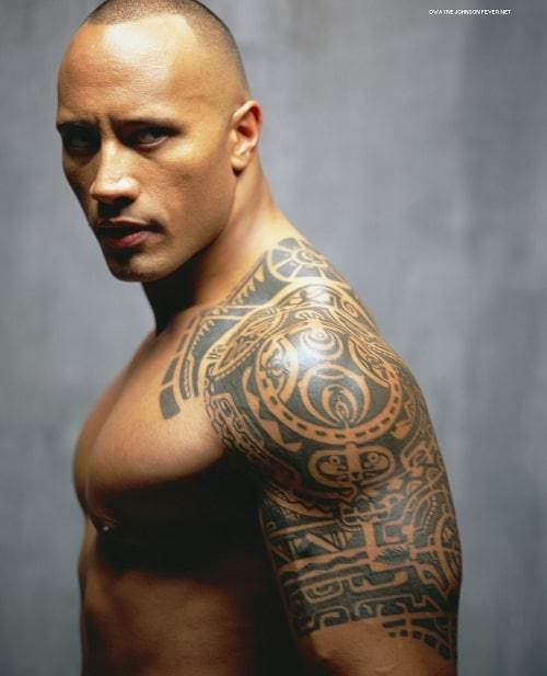 the rock with tribal tattoo