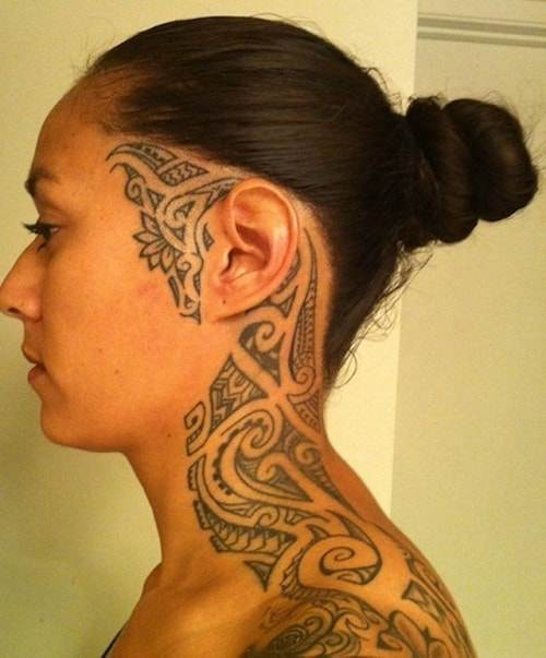 Shoulder to Face Tribal Tattoos