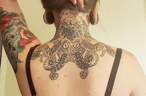 cool octopus tattoo on neck