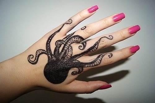Octopus on Hand Tattoo