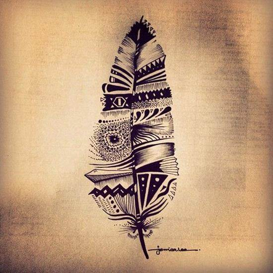 tribal-feather-tattoo