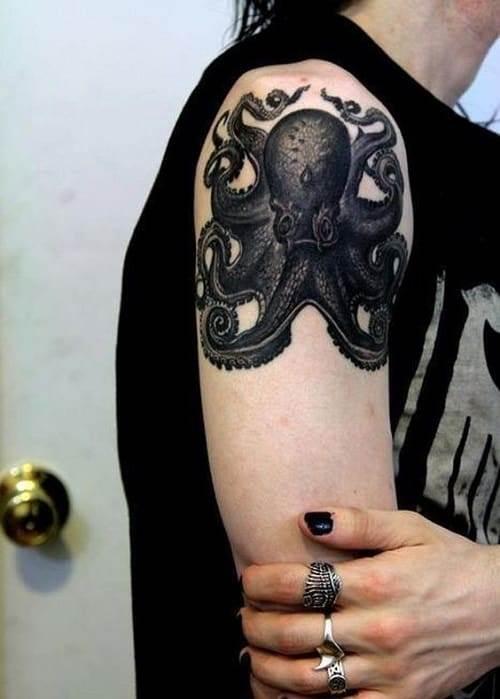 Black Octopus Tattoo On Arm