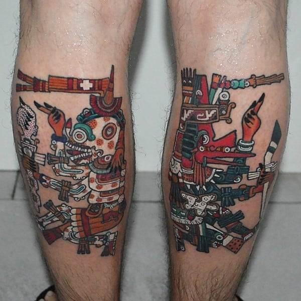 aztec tattoos on legs