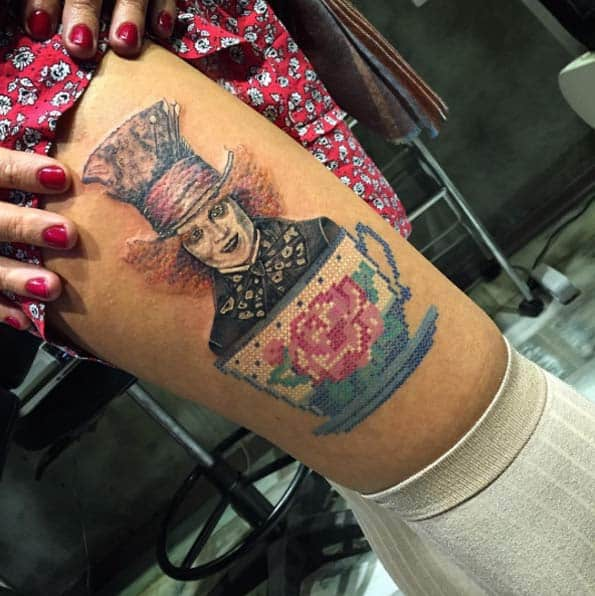 Alice in Wonderland Cross-Stitch Tattoo by Eva
