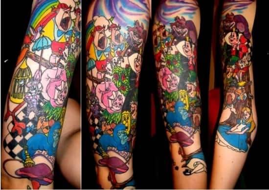 Alice-In-Wonderland-Sleeve-Tattoos