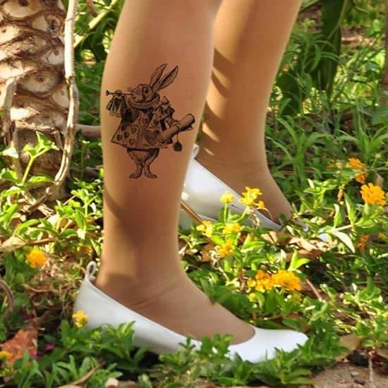Alice-in-WONDERLAND-Tattoo-Tights-funny-tattoo-tights
