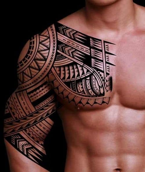 Sun And Shark Teeth Polynesian Tattoo