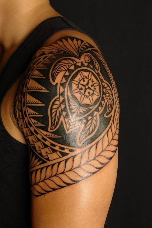 Turtle and Spear Head Polynesian Tattoo