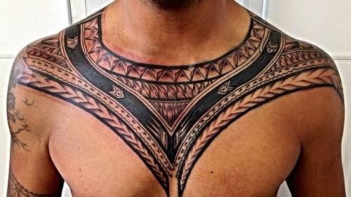 polynesian tattoo on chest