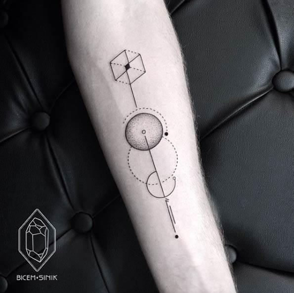 Geometric Cube Tattoo by Bicem Sinik