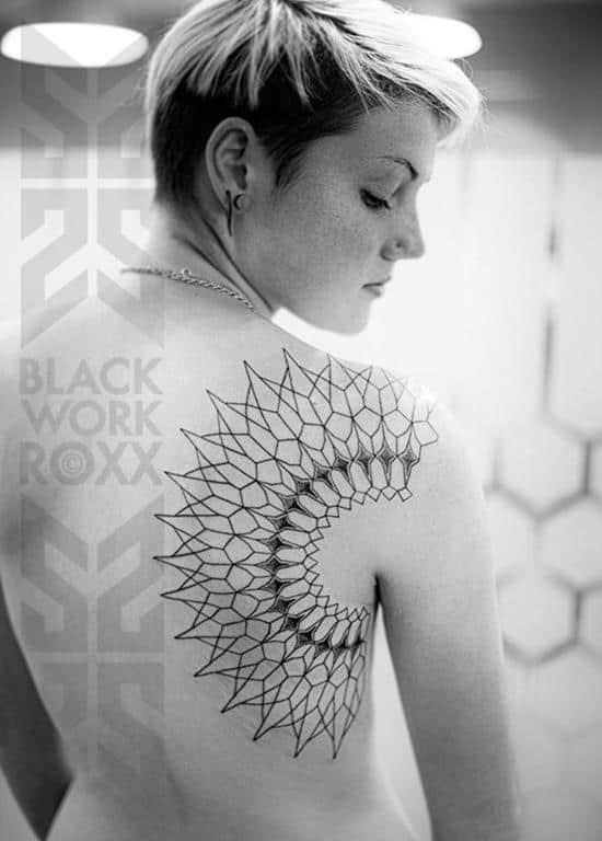 geometric tattoo on back