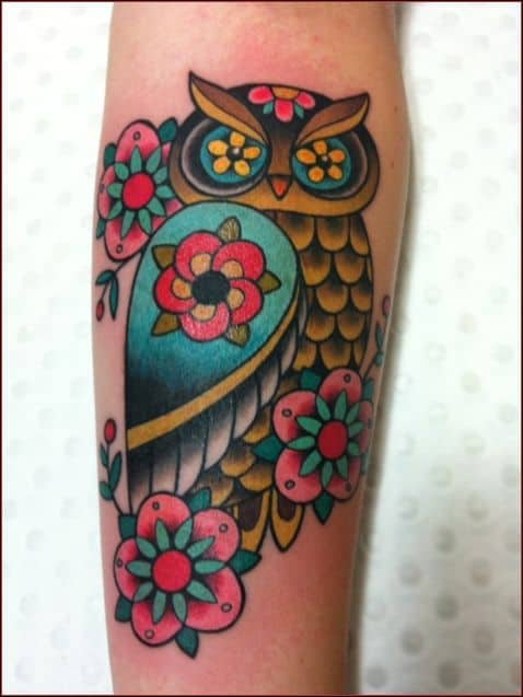 owl and flowers tattoo