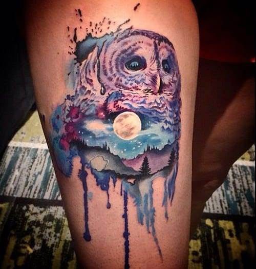 Watercolor Midnight Owl Tattoo