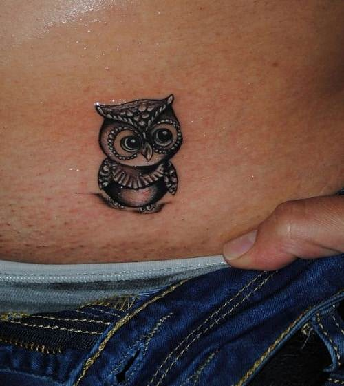 Tiny Owl on Skin Tattoo