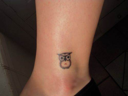 Small Owl on Ankle Tattoo