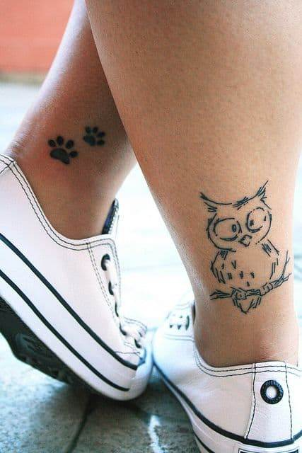 Simple Owl Tattoo on Back of Leg