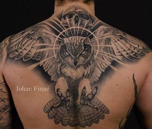 Scary Flying Owl Tattoo