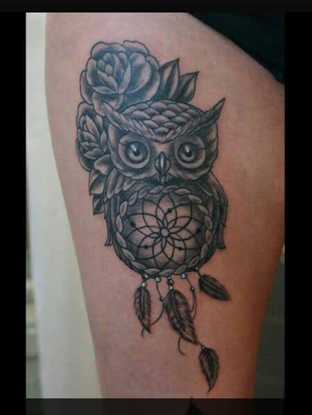 Rose Dream Catcher Owl Tattoo