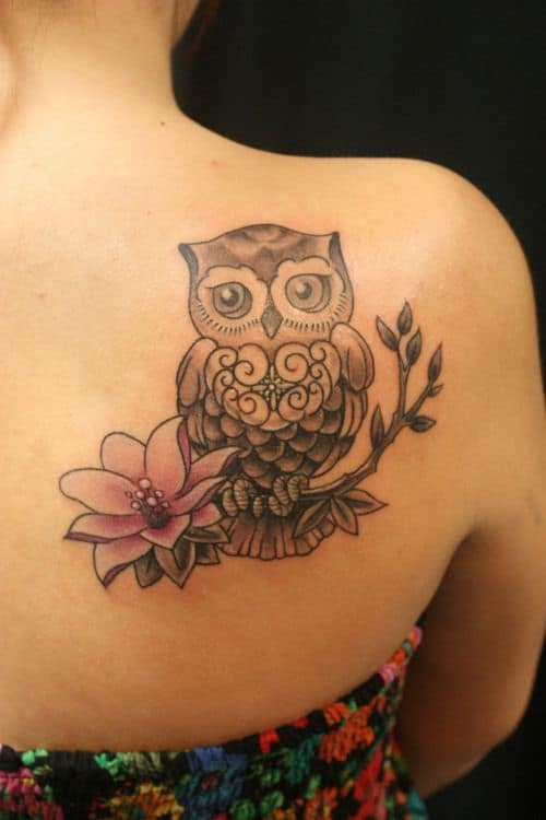 Owl with Flower on a Branch Back Tattoo