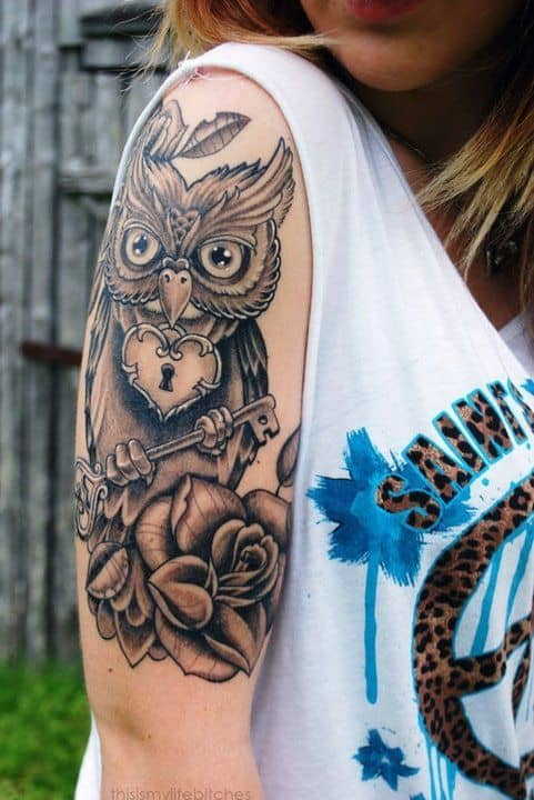 Owl Holding Lock and Key Tattoo