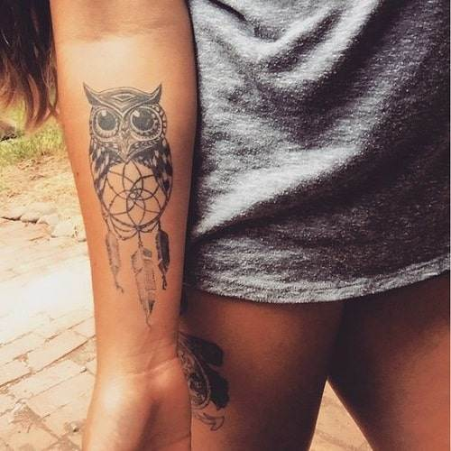 Cute Owl with Dream Catcher Tattoo