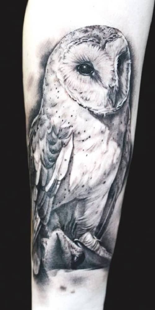Black and White Owl Tattoo