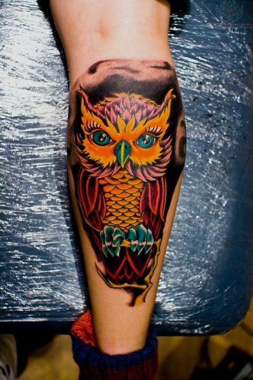 Colorful Owl Tattoo on Back Leg