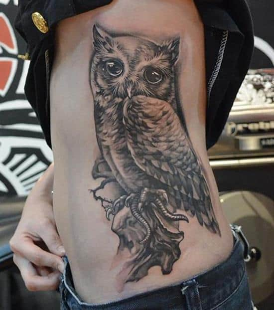 owl tattoo on side