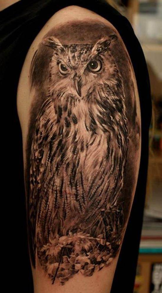 black and white shoulder owl tattoo