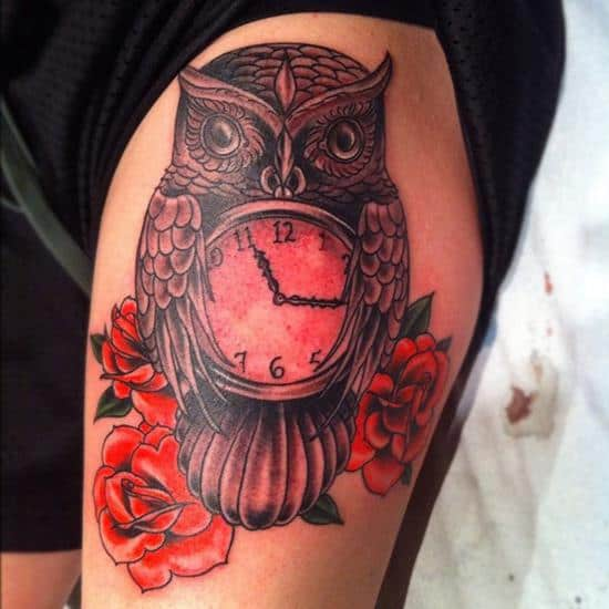 red owl and pocket watch tattoo