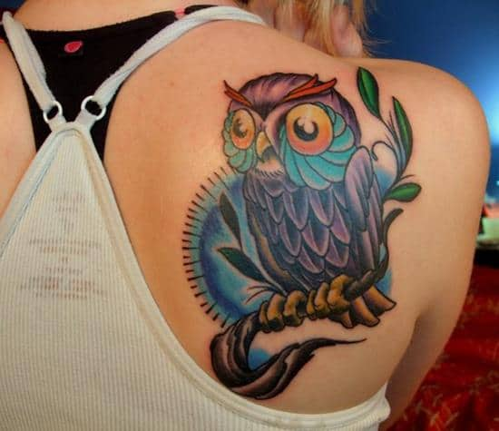 shoulder blade owl tattoo