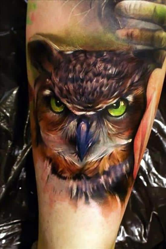 3d angry owl face tattoo