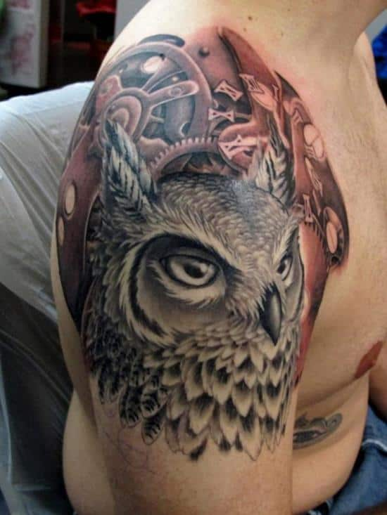 owl and clockwork tattoo