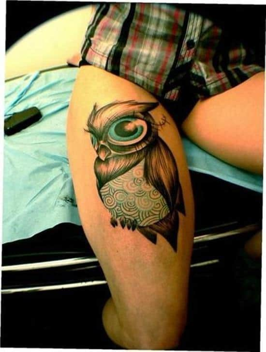 owl tattoo thigh woman