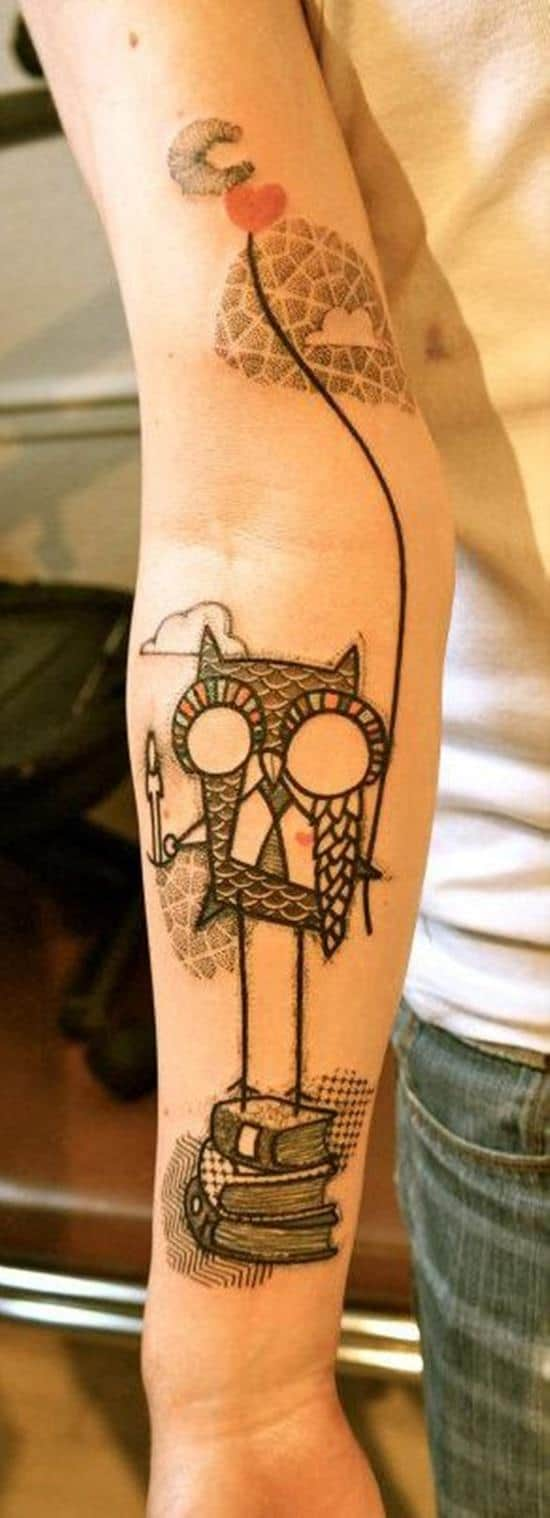 owl and books tattoo