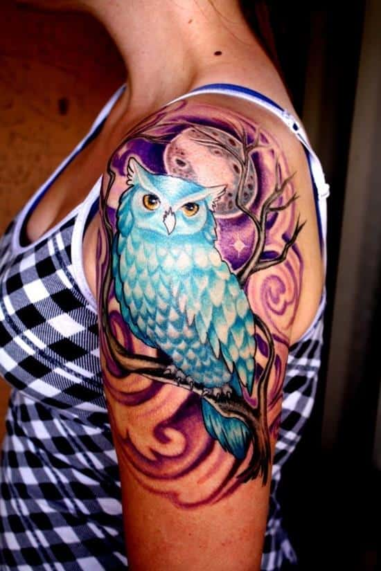 blue owl shoulder tattoo