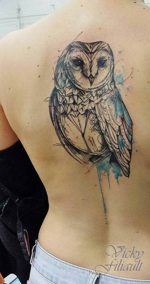 Blue Color Splash Geometric Owl Tattoo
