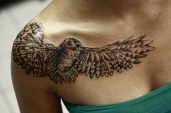 upper chest owl tattoo