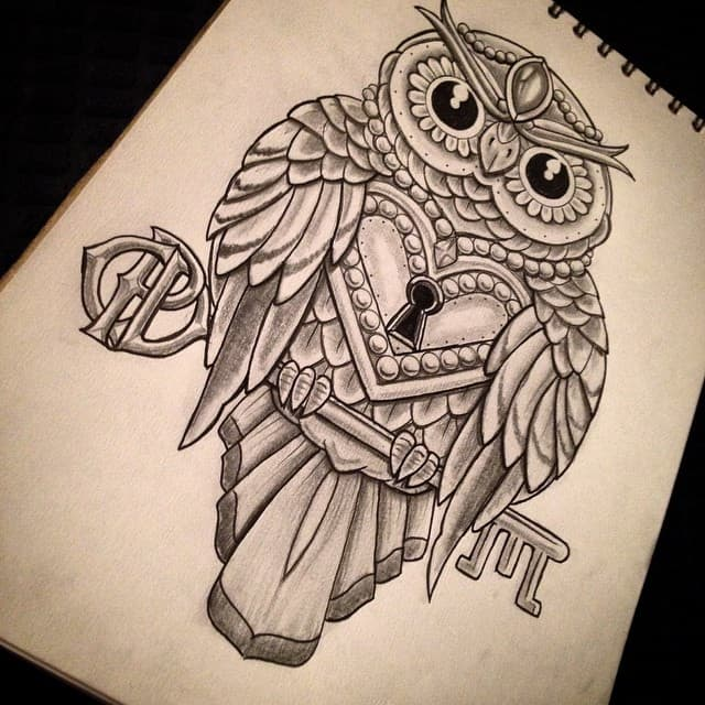 Lock and Key Tattoos owl