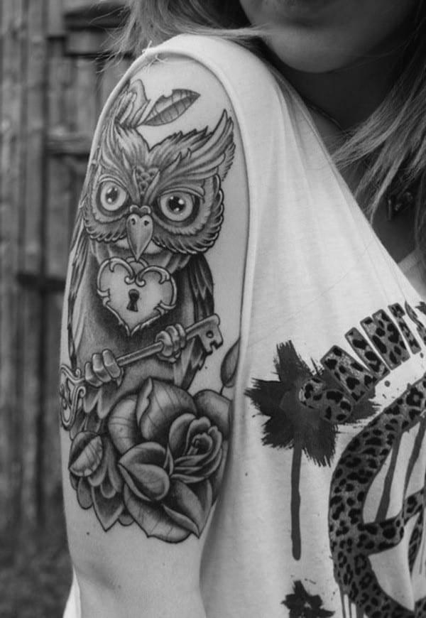 key-tattoo-owl