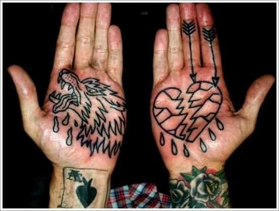 wolf tattoo on palm