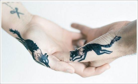 wolf tattoos on hands