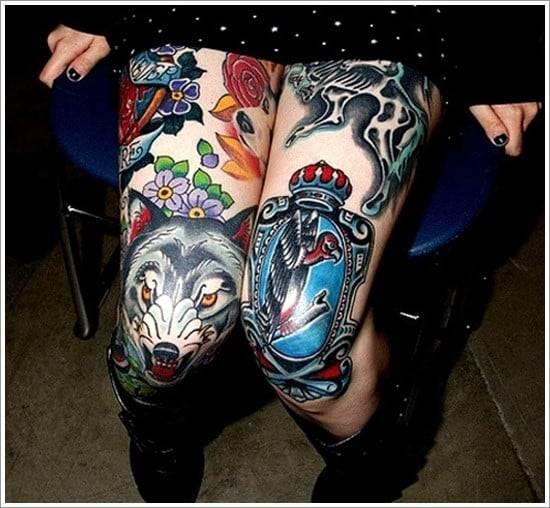 wolf tattoo on knee