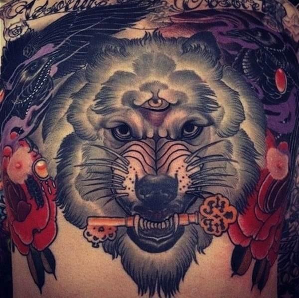 wolf holding a key tattoo