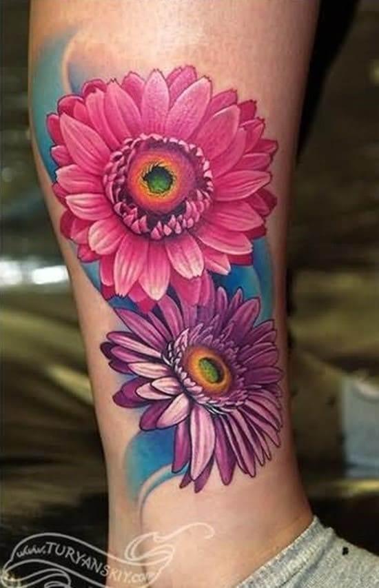 pink daisy tattoo