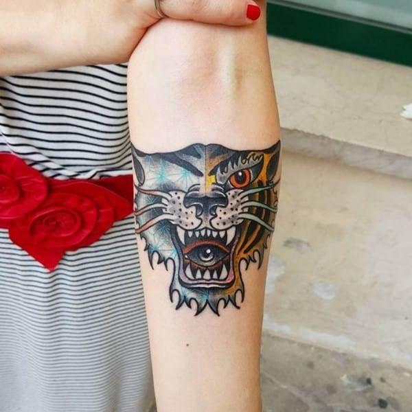tiger forearm tattoo